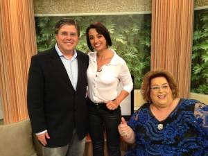 "Airton Gontow, Cátia Fonseca e Mamma Bruschetta, no ""Mulheres', da TV Gazeta"