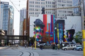 Mural em execução em uma área nobre de Minneapolis