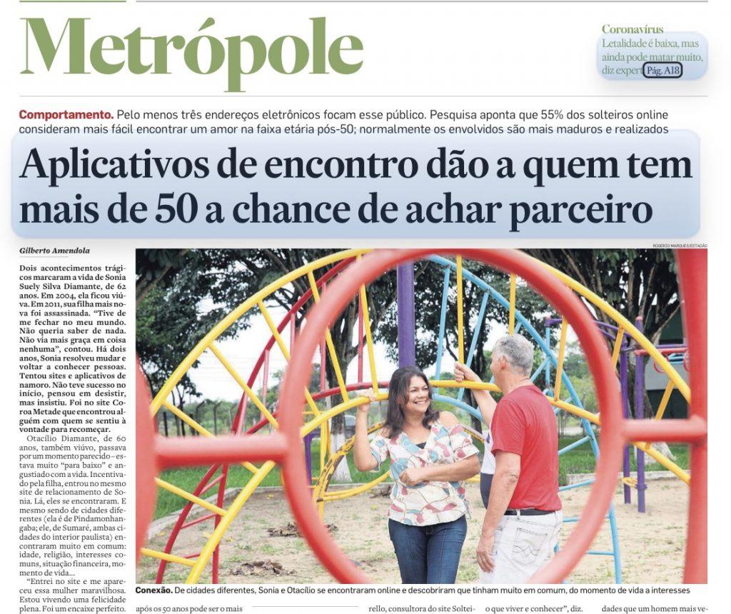 """Matéria no jornal """"O Estado de S. Paulo"""" com destaque para um casal formado no site Coroa Metade"""